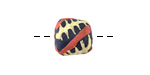 African Hand-Painted in Cream/Red on Dark Blue Powder Glass (Krobo) Bead 11-13x11-12mm