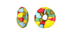 African Recycled Glass & Seed Bead Aqua w/ Red, Yellow, & Green Mini Donut 5-7x13-15mm