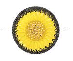 Czech Glass Yellow w/ Black Daisy Button 32mm