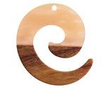 Walnut Wood & Blossom Pearlescent Resin Koru Focal 36x37mm