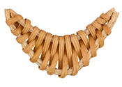Natural Rattan-Style Woven Crescent Focal 43-55x30-39mm