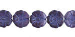 Czech Glass Matte Plum w/ Etched Violet Hibiscus Coin 12mm