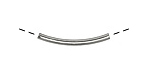 Silver (plated) 4-Sided Shallow Curve Noodle Bead 25x4.5mm