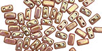 CzechMates Glass Luster Opaque Rose/Gold Topaz 2-Hole Brick 3x6mm