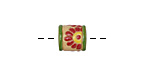 Golem Studio Red Daisies Carved Ceramic Tube Bead 12x10.5mm