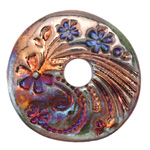 Xaz Raku Green Large Flower Coin 44-45mm