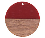 Wood & Cherry Resin Coin Focal 39-40mm