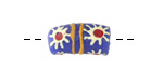 African Hand-Painted in White/Red Flower Burst on Blue Powder Glass (Krobo) Bead 17-18x10mm