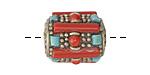 Tibetan Brass w/ Turquoise & Coral Barrel Bead 20x17mm