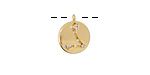 Gold (plated) w/ Crystals Pisces Constellation Charm 11x13mm