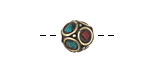 Tibetan White Brass Bead w/ Coral & Turquoise Mosaic 11-12mm