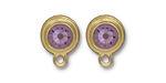 TierraCast Gold (plated) Stepped Bezel Ear Post w/ Light Amethyst Crystal 12x17mm