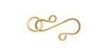 Gold Enameled Copper S Clasp 20x13mm, 8mm ring