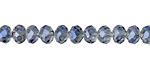 Black Diamond w/ Blue Luster Crystal Faceted Rondelle 6mm