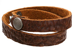 "The Lipstick Ranch Brandy Hornback Bull Hide Cuff Double Wrap Bracelet 1/2"" x 16 1/4"""