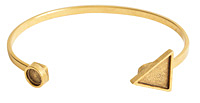Nunn Design Antique Gold (plated) Triangle/Circle Bezel Cuff Bracelet