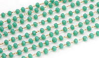 Jade Crystal 3mm Delicate Brass Bead Chain