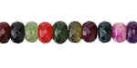 Dark Rainbow Fire Agate Faceted Rondelle 8mm