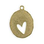 Vintaj Antique Brass (plated) Organic Oval Heart Blank 26x35mm