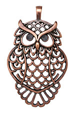 Greek Bronze (plated) Filigree Owl Pendant 41x68mm