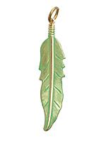 Vintaj Vogue Jade Feather 13x55mm