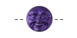 Czech Glass Black Violet Moon Face Button 17mm