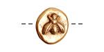 Nunn Design Antique Gold (plated) Round Bee Button 17x18mm