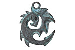 Greek Copper (plated) Patina Spiral Dragon 23x31mm