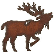 The Lipstick Ranch Rusted Iron Elk Pendant 57x54mm