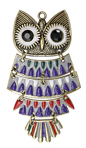 Antique Gold (plated) Retro Enameled Forest Owl 5-piece Focal 50x90mm