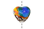 Grace Lampwork Color Splash Heart 19x18mm