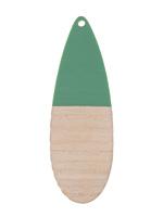 Wood & Vintage Turquoise Resin Long Teardrop Focal 19x58mm