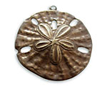 Vintaj Natural Brass Sand Dollar Pendant 37x33mm