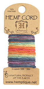 Rainbow Hemp Twine 20 lb, 20 ft