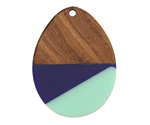 Walnut Wood & Nautical Resin Teardrop Focal 28x37mm
