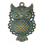Zola Elements Patina Green Brass Vintage Horned Owl Pendant 33x46mm
