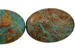 Blue Calsilica Jasper Flat Oval 35x25mm
