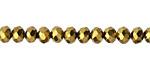 Antique Gold Crystal Faceted Rondelle 6mm