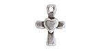 Greek Pewter Cross w/ Heart Pendant 15x21mm