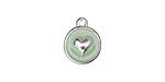 Sweet Mint Enamel Silver Finish Heart Coin Charm 12mm