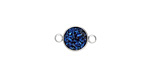 Metallic Indigo Crystal Druzy Coin Link in Silver Finish Bezel 14x9mm