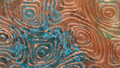 "Lillypilly Azul Psychedelic Embossed Patina Copper Sheet 3""x6"", 36 gauge"