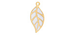 White Enamel Gold (plated) Stainless Steel Falling Leaf Focal 10x22mm