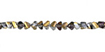 Black Diamond w/ Purple & Antique Gold Luster Crystal Faceted Chevron 2x4mm