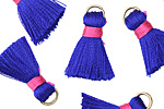 Cobalt Blue w/ Hot Pink Binding & Jump Ring Thread Tassel 20mm
