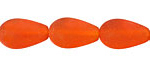 Tangerine Recycled Glass Teardrop Round 17x10mm
