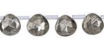 Golden Pyrite (silver tone) Faceted Flat Teardrop 10mm