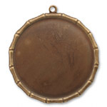 Vintaj Natural Brass Large Bamboo Circle Bezel Pendant 40mm