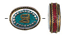 "Tibetan White Brass & Brass ""Om"" Oval Coin Bead w/ Turquoise & Coral 20-22x16-18mm"
