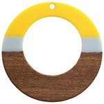 Walnut Wood & Yellow and Gray 2021 Color of the Year Resin Gypsy Hoop Focal 49mm